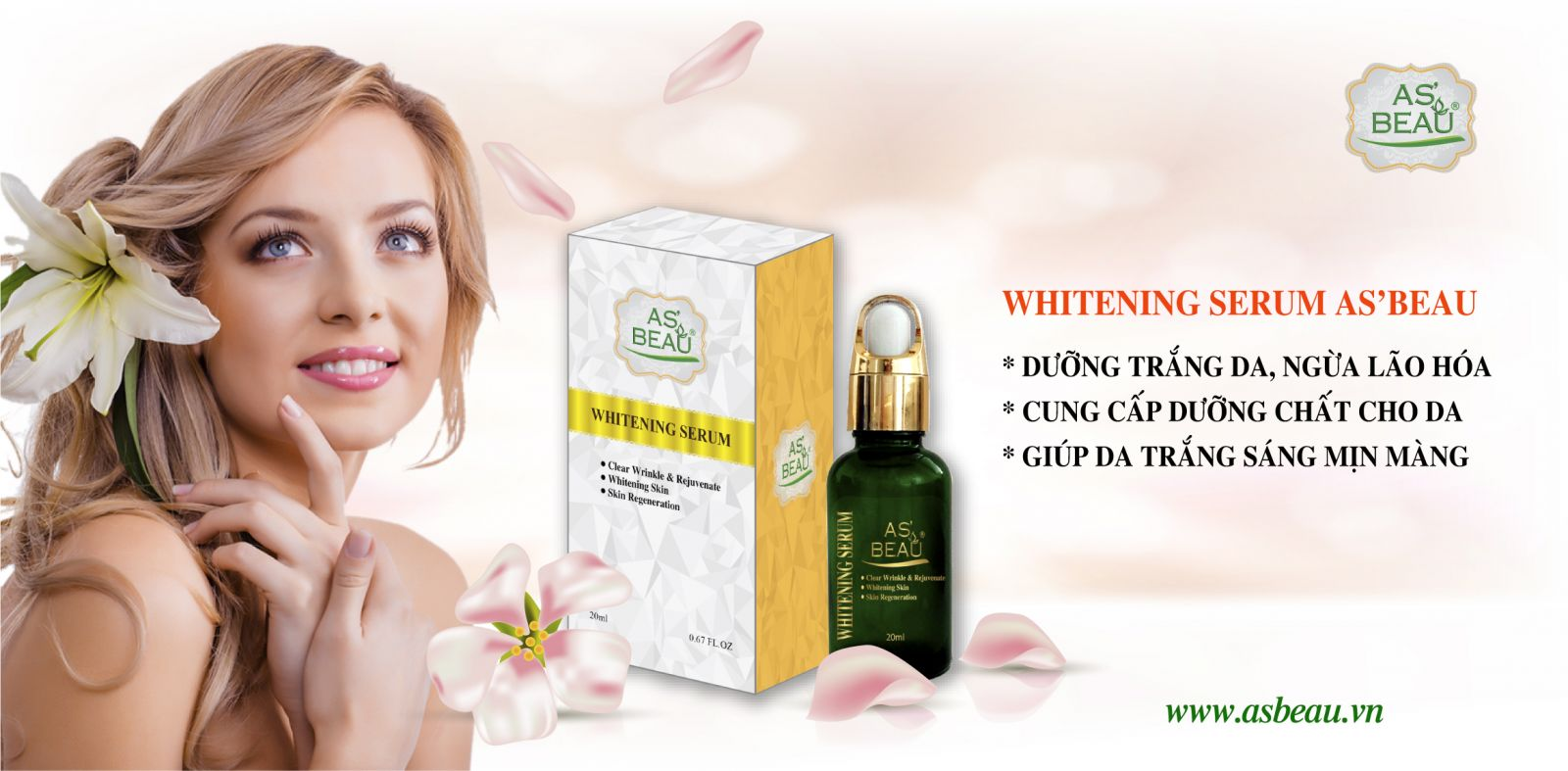 serum dưỡng trắng da, asbeau, whitening serum